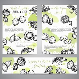 Noten en zaden achtergrondinzamelingshand getrokken illustratie met noten en zadenelementen