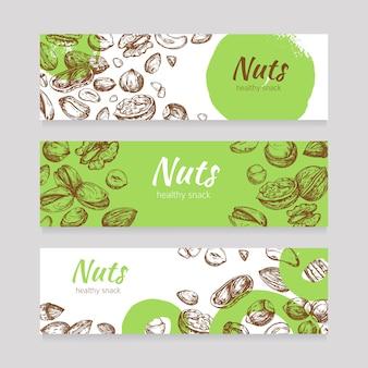Noten en zaden banners eten. gezonde voeding banner instellen in gravure stijl