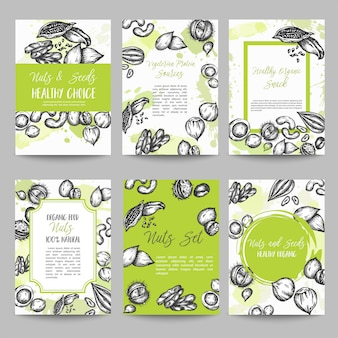 Noten en zaden set kaarten collectie hand getrokken vectorillustratie met noten en zaden elementen, vintage retro stijl