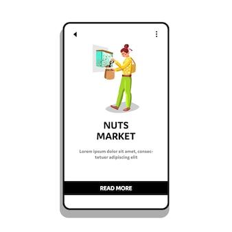 Noten markt vrouw vullen zak met producten