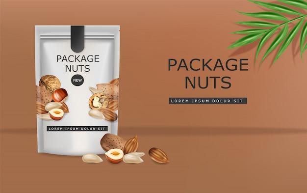 Noten realistische mock-up. griekse walnoten, amandelen en hazelnoten. 3d-gedetailleerde ontwerppakketten