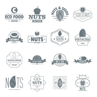 Noten zaden logo pictogrammen instellen
