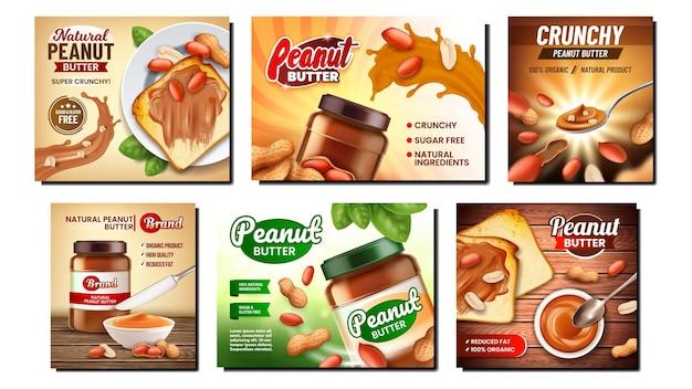 Notenboter creatieve promotionele banner set. pindakaas romig voedsel, biologisch ingrediënt en keukengerei op reclamebanners.