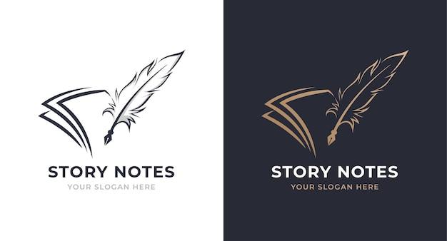 Notitie en ganzenveer logo-ontwerp