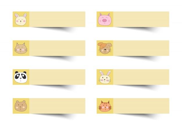 Notitie gele kleur met schattige dieren.