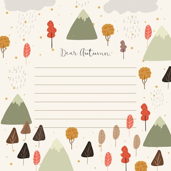 Notitie papier met herfst boom en berg achtergrond