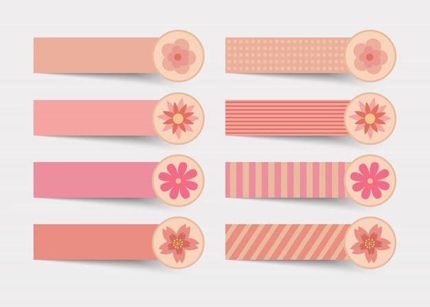 Notitie roze kleur met bloem.