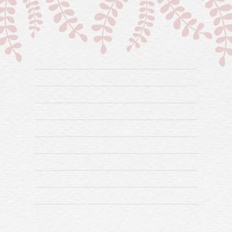 Notitieachtergrond met roze bladpatroon