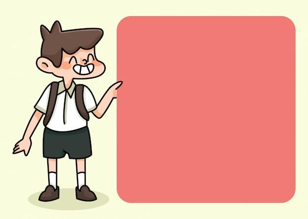 Notitieblok schattige student ontwerpt terug naar school om dagelijkse notities te maken