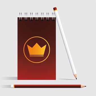 Notitieboekje en potloden, huisstijlmalplaatje in witte illustratie als achtergrond