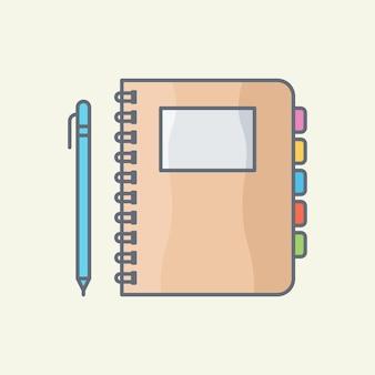 Notitieboekje met pen vector