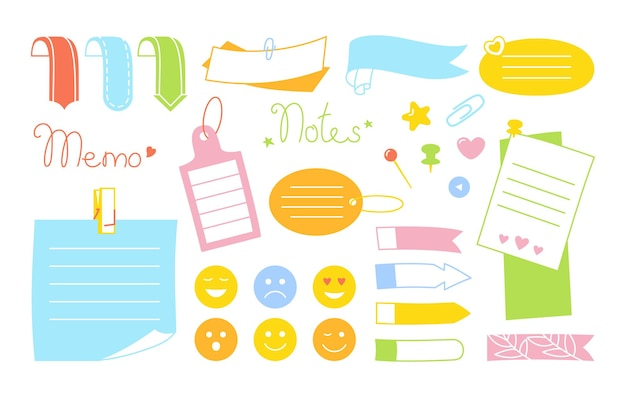 Notitieboekje notitie kawaii set emoji sticker