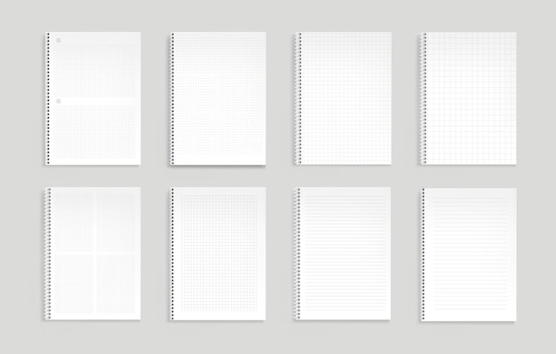 Notitieboekjes met lijnen, stippen en vierkant raster.