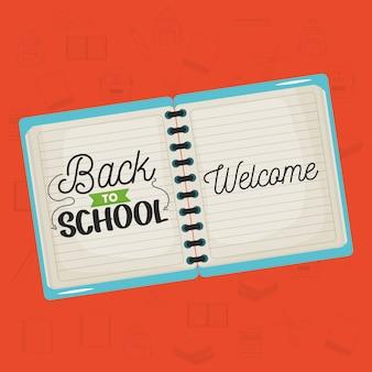 Notitieboekjeschool met bericht terug naar school