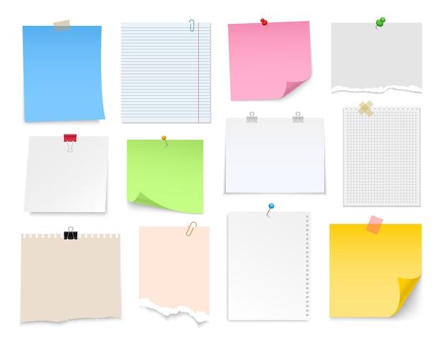 Notitiepapier met pin binder clip push pin plakband en tack