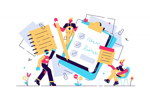 Notities illustratie. plat klein papier leerboek schrijven personen concept. briefpapier blanco vellen voor dagboek, memo's of schets maken. lege checklists, organisatoren en schone informatie notitieboekpagina's.