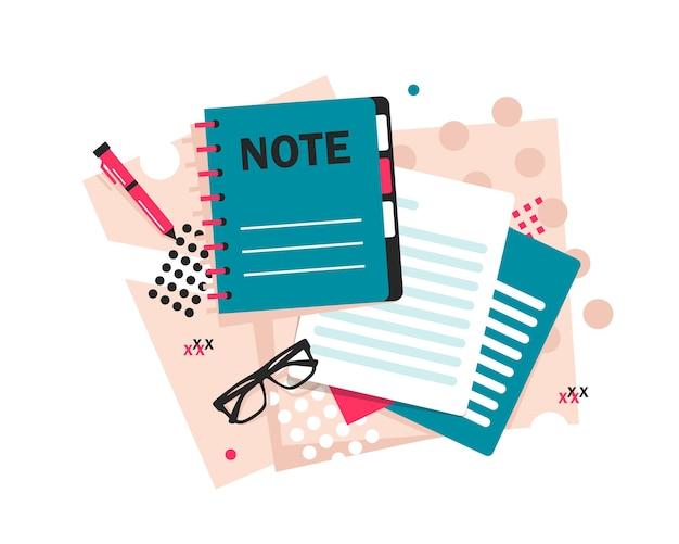 Notities maken memo symbool van het maken van de notities platte ontwerp pictogram vectorillustratie