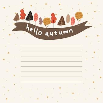 Notities met herfst boom en lint achtergrond