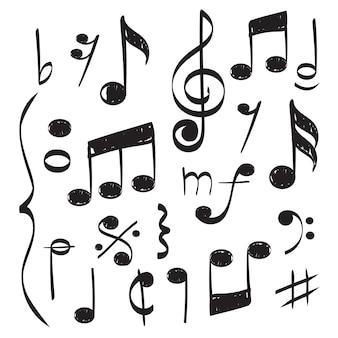 Notities muziek. vector hand getrokken muzician personeel treble clef voor foto's van het lied vectorconcept