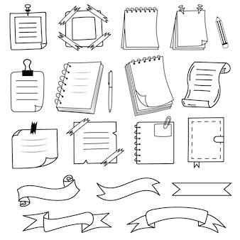 Notities notebooks linten in doodle stijl herinneringspapier sticker voor pin-notificatietekst