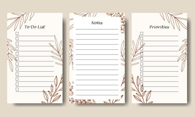 Notities te doen lijstsjabloon met handgetekende lijn art leaf achtergrond afdrukbare