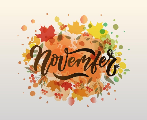 November belettering typografie moderne november kalligrafie vector illustratie getextureerde achtergrond