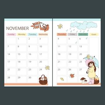 November planner 2021 maandkalender afdrukbare pagina sjabloon schema met meisje onder paraplu en mand met fruit en champignons cartoon vectorillustratie