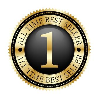 Nr. 1 aller tijden bestseller badge zwart en goud glanzend metallic vintage logo