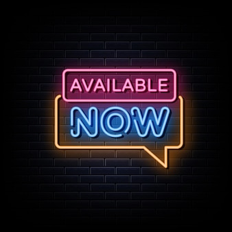 Nu beschikbaar neonreclames ontwerpsjabloon neonreclame