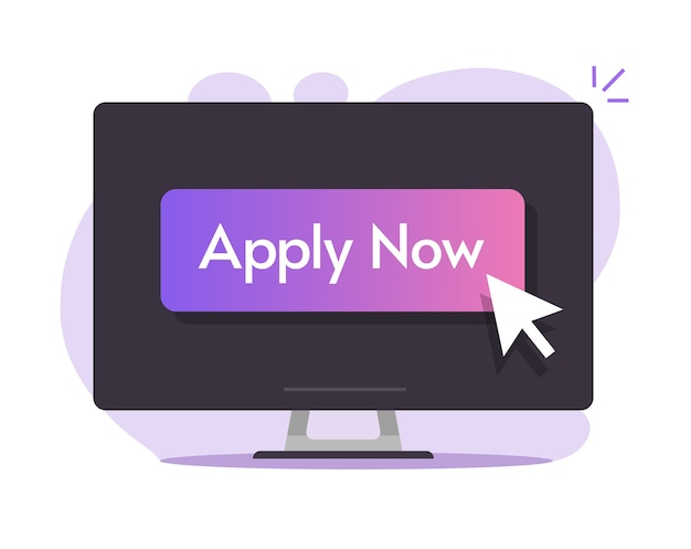 Nu online digitale knop toepassen op computer pc-scherm met cursor aanwijzer muis pijl ontwerp illustratie afbeelding