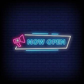 Nu open neonreclames vector. nu open ontwerpsjabloon neon sign
