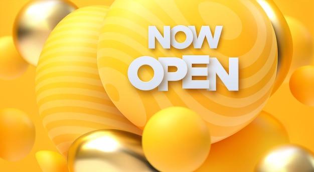 Nu open wit bord met gouden en gele zachte bubbels