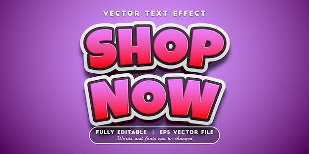 Nu winkelen teksteffect, bewerkbare tekststijl