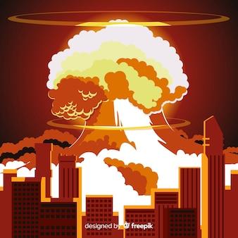 Nucleair explosie-effect plat ontwerp