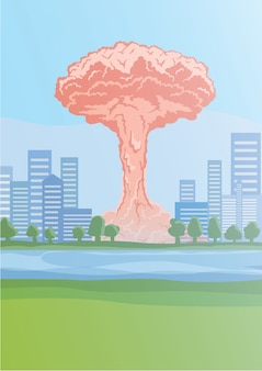Nucleaire bomexplosie in de stad, paddestoelwolken. illustratie.