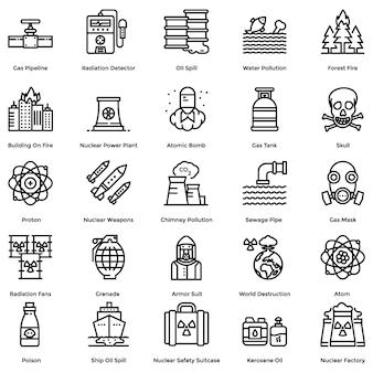 Nucleaire elementen lijn pictogrammen pack
