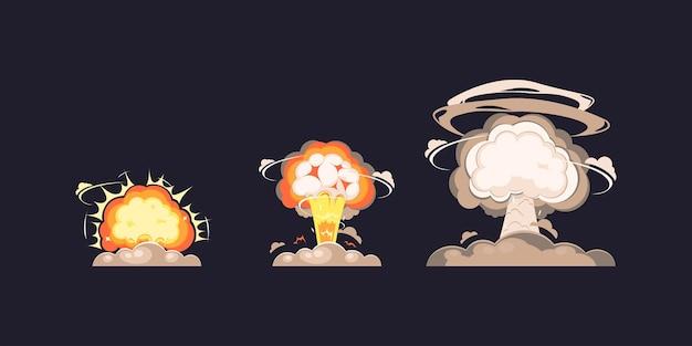 Nucleaire explosie bom ontploffing in platte stijl collectie, nuke atomaire ontploffing blast paddestoel collectie.