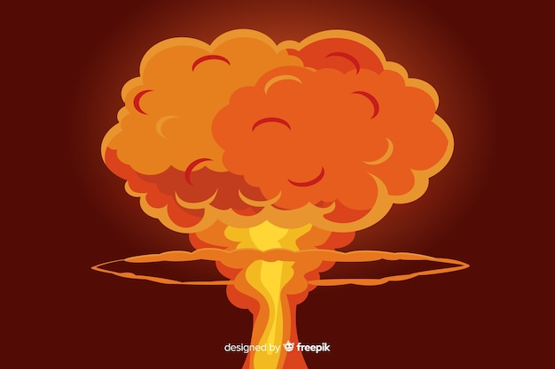 Nucleaire explosie illustratie cartoon stijl