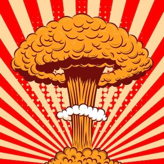 Nucleaire explosie in cartoon-stijl op komische achtergrond. element voor poster, kaart, banner, flyer. illustratie