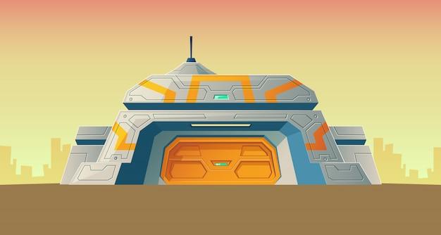 Nucleaire geheime bunker van wetenschappelijk laboratorium voor creatie.