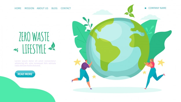 Nul afval levensstijl, landing illustratie. help de leefstijl van het milieu, verminder plastic en geef om de webpagina van de planeet.