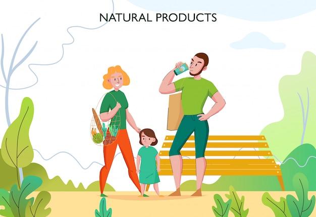 Nul afval levensstijl met jong fit gezin buiten met milieuvriendelijke duurzame natuurlijke producten plat