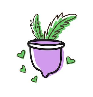 Nul afval menstruatiecup met groene bladeren doodle vectorillustratie. gezondheidsconcept voor vrouwen