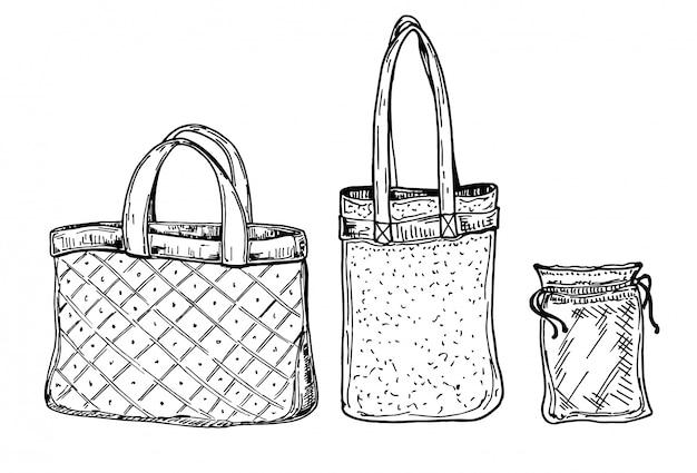 Nul afval winkelen. ecologische levensstijl en set eco stoffen en mesh tassen. doodle lineaire pictogrammen. hand getekende schattige schets illustratie