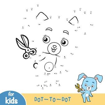 Numbers game, onderwijs stip naar stip spel voor kinderen, konijn