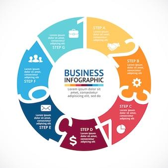 Numbers vector infographic presentatiesjabloon cirkeldiagramgrafiek 7 stappen onderdelen