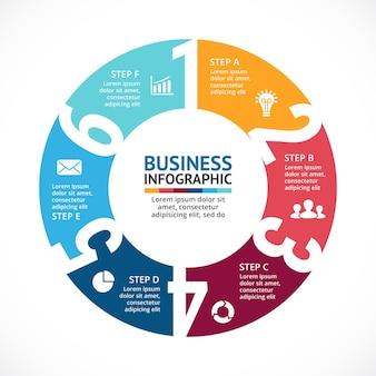 Numbersvector infographic presentatiesjabloon cirkeldiagramdiagram 6 stappen onderdelen