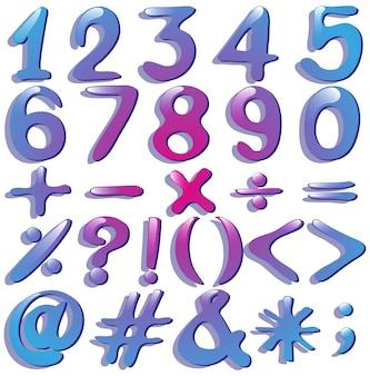 Numerieke cijfers in violette tinten op een witte achtergrond