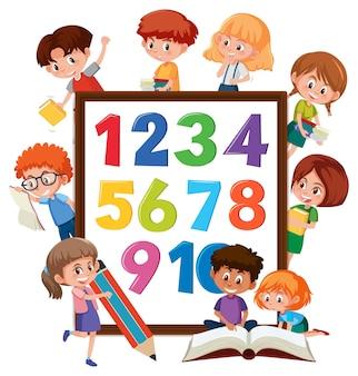 Nummer 0 tot 9 op banner met veel kinderen die verschillende activiteiten doen