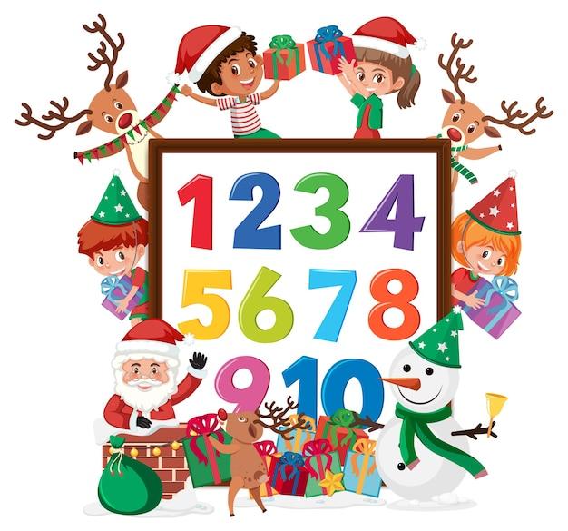 Nummer 0 tot 9 op banner met veel kinderen in kerstthema